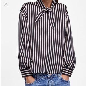 Zara Striped Bow Silky Blouse sz Medium